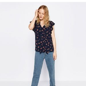 Navy Blue Floral Zara Blouse with Bow